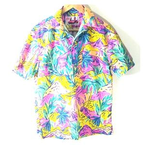 Vintage mens tropical small usa made button up